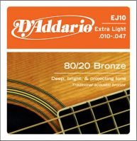 D'Addario EJ10 Bronze Extra Light 10-47 Acoustic Guitar Strings